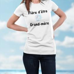 Fière d'être Grand-mère ❤ T-Shirt mode dame, dessin d'un bébé accroché au texte