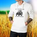 Sweat bianco a cappuccio - Conduire un tracteur