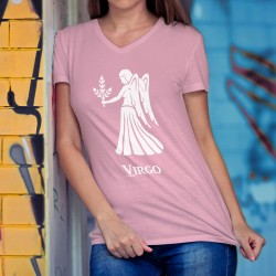 Lady's cotton t-shirt with the zodiac sign of the Virgin (Virgo) ♍ for people born between August 23 and September 22