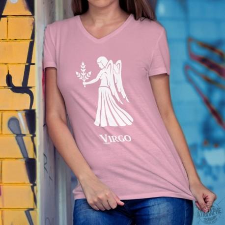 T-shirt coton dame avec le signe du zodiaque de la Vierge (Virgo) ♍ pour les personnes nées entre le 23 août et le 22 septembre