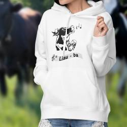 Donna Felpa bianco a cappuccio - Liauba - Mucca