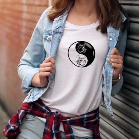 Yin-Yang ★ tête de chat ★ T-Shirt mode dame avec la tête d'un Chat au design tribal (tatouage) à l'intérieur du Yin et du Yang