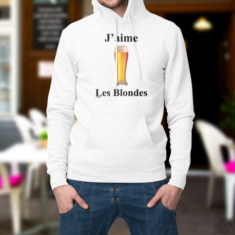 Pull humoristique blanc à capuche - J'aime les Blondes - bière pression blonde