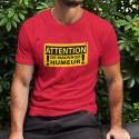ATTENTION, de mauvaise humeur ✸ panneau DANGER ✸ T-Shirt coton homme