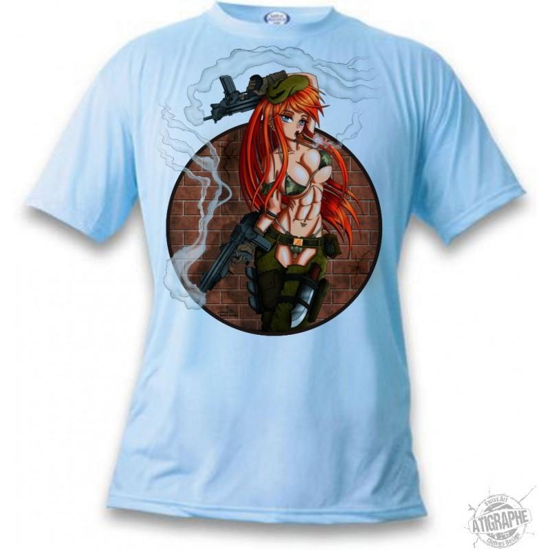 Men S Or Women S Manga T Shirt Sexy Military Girl Trigger