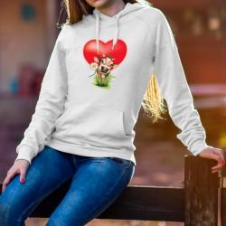 Donna Felpa bianco a cappuccio - Piccola mucca innamorata