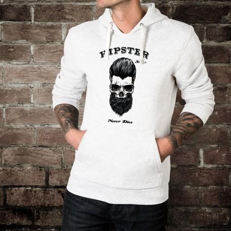 Uomo felpa bianco a cappuccio - HIPSTER Style Never Dies