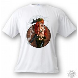 Men's or Women's Manga T-Shirt - Sexy Military Girl - Trigger, White
