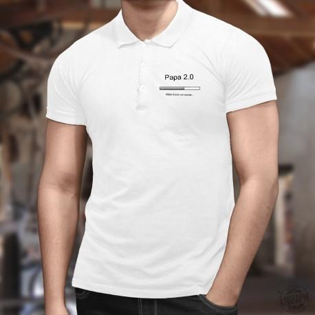 Polo shirt humoristique mode homme  - Papa 2.0 - barre téléchargement, 2ème enfant