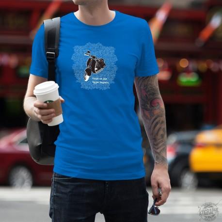 Uomo cotone T-Shirt - Vespa un jour, Vespa toujours