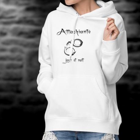 Pull blanc à capuche humoristique - Attachiante, jour et nuit - paire de menottes - mode dame