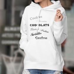 Pull blanc à capuche - Gaufres et Chocolats - mode dame gourmande