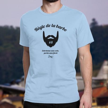 T-Shirt humoristique homme - Règle de la barbe 8 - portée avec fierté
