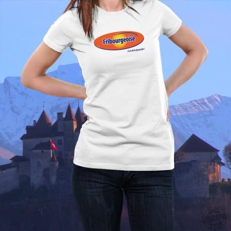 Fribourgeoise, c'est de la dynamite ! ★ T-Shirt mode dame inspiré d'une boisson maltée au chocolat