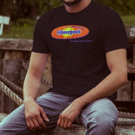 T-shirt coton homme - Fribourgeois, bien mieux. Et plus longtemps ! - logo d'une célèbre marque de pâte à tartiner au chocolat