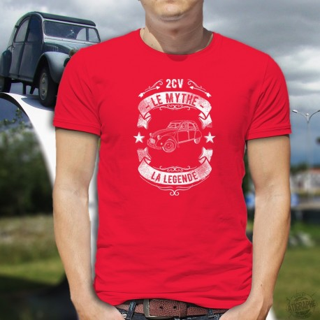Men's cotton T-Shirt - 2CV, le mythe, la légende