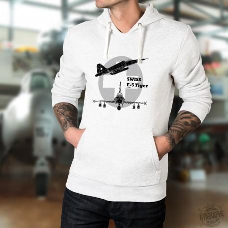 Swiss F-5 Tiger ★ Forze aeree svizzere ★ Uomo Felpa bianco a cappuccio
