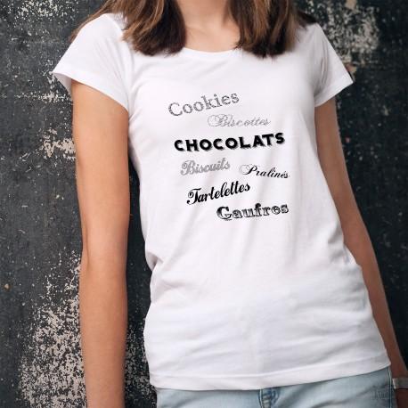 Cookies, Biscottes, Chocolats, Biscuits, Pralinés, Tartelettes, Gaufres ✿ T-Shirt dame illustré des mots plein de douceurs