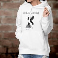 Pullover humoristique blanc à capuche mode dame - Génération X - baladeur à cassette, walkman