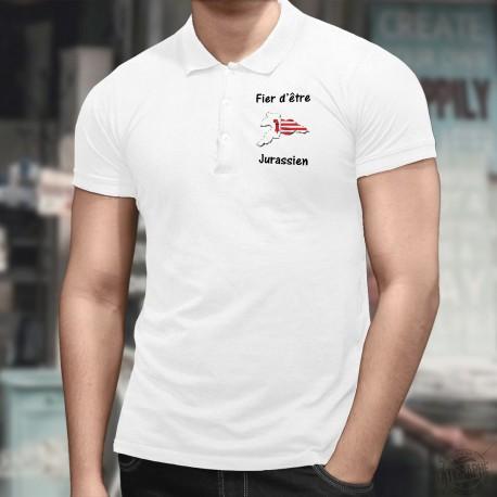 Fier d'être Jurassien ★ Polo shirt homme avec les frontières cantonales jurassiennes aux couleurs du canton du Jura