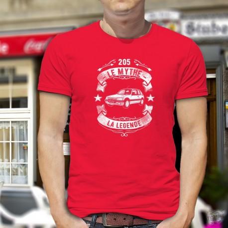 T-shirt coton mode homme - Peugeot 205, le mythe, la légende - voiture française célèbre dans les années quatre-vingts