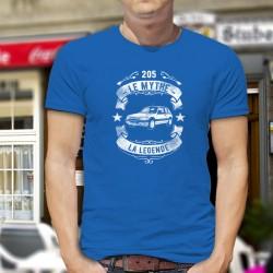 T-shirt coton mode homme - Peugeot 205, le mythe, la légende