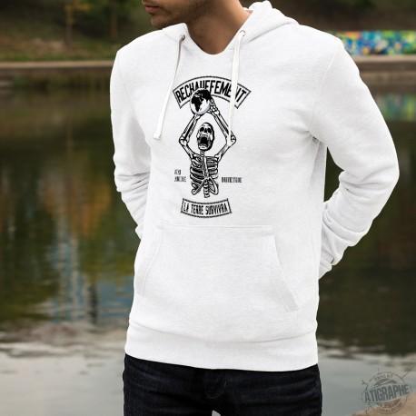 Pull blanc à capuche mode homme - Réchauffement climatique ? N'aie aucune inquiétude, la Terre survivra - squelette basketball