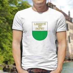Liberté et Papet ★ T-Shirt Vaudois pour homme amateur du délicieux papet vaudois aux poreaux (poireaux) et saucisse aux choux