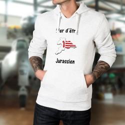 Fier d'être Jurassien ★ frontières du canton aux couleurs du Jura ★ Pull-over blanc à capuche homme