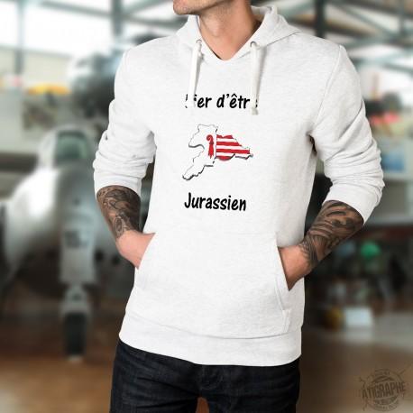 Pull-over blanc à capuche mode homme - Fier d'être Jurassien - avec le drapeau et frontières du canton du Jura