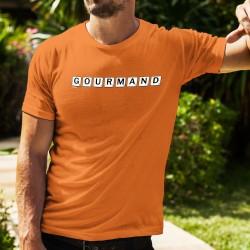 Gourmand ✲ lettres de Scrabble ✲ T-Shirt coton humoristique homme avec le Péché de gourmandise
