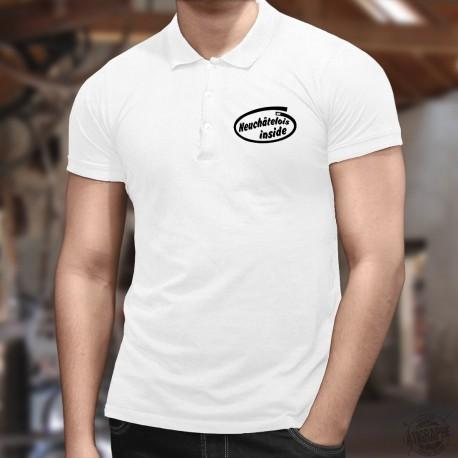 Men's Funny Polo shirt - Neuchâtelois inside, White
