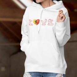 Pull-over blanc à capuche - LOVE Genève - mode femme