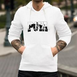 Puill-over blanc à capuche mode homme - Pont de la Poya