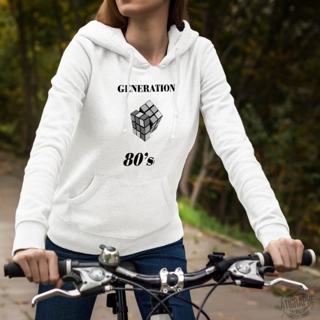 Women Fashion Hoodie - Generation eighties - Rubik's cube