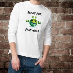 Pull humoristique mode homme - Ready for free Hugs - un Alien Smiley baveur prêt pour des câlins