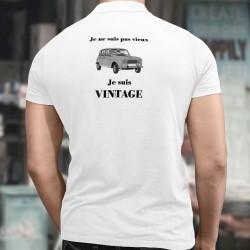 Polo humoristique homme - Je ne suis pas vieux, je suis Vintage - avec le dessin de la voiture populaire Renault 4CV (ou 4L)
