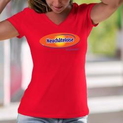 Neuchâteloise, c'est de la dynamite ! ❤ T-Shirt coton dame, pâte à tartiner au malt et chocolat