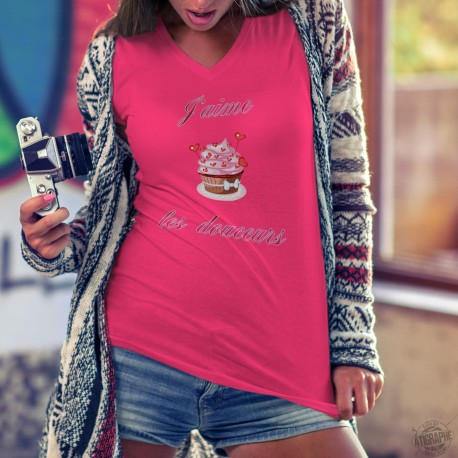 T-shirt mode coton Dame - J'aime les douceurs - coeurs cupcake