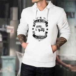 Pull blanc à capuche mode homme - Renault 4L, le Mythe, la Légende