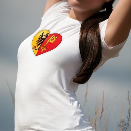 Coeur Genevois ❤ T-Shirt mode dame avec un Coeur aux couleurs du canton de Genève