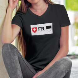 T-shirt coton mode dame - plaque minéralogique fribourgeoise