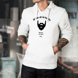 Pull humoristique blanc à capuche - Règle de la barbe N°7 - hipster