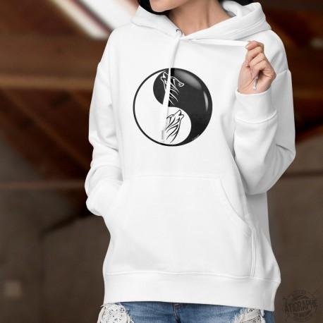 Felpa bianco a cappuccio - Yin e Yang - lupo tribale