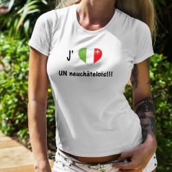 T-shirt mode dame - J'aime UN neuchâtelois - Coeur aux couleurs du drapeau du canton de Neuchâtel