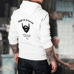 Pull humoristique blanc à capuche - Règle de la barbe N°8 - portée avec fierté