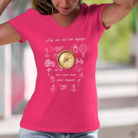 T-shirt mode coton Dame - Mon coeur pour boussole - pour un voyage de rêve