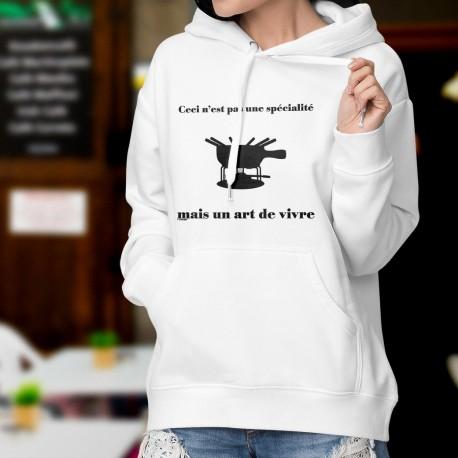 Pull dame blanc à capuche - Fondue, Art de vivre - caquelon