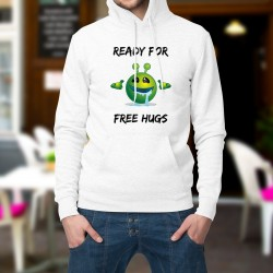 Moda Felpa bianco a cappuccio - Alien smiley, Ready for free Hugs - Pronto per abbracci gratis