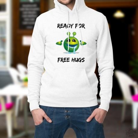 Pull blanc à capuche - Alien smiley - Ready for free Hugs - prêt pour de gros câlins